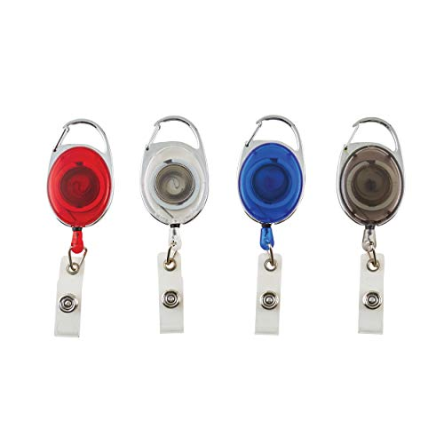 ADVANTUS Carabiner-Style Retractable ID Card Reel, Extends 30 Inches, Pack of 20, Assorted Colors (75552)