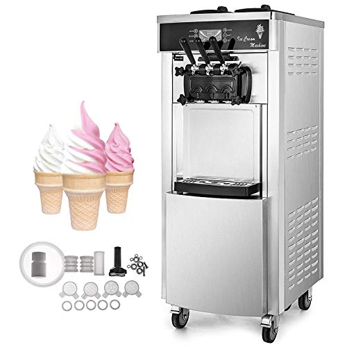 VEVOR 2200W Commercial Soft Ice Cream Machine 3 Flavors 5.3 to 7.4Gallons per Hour Auto Clean LED Panel Perfect for Restaurants Snack Bar supermarkets, Sliver (Mini Machine Cream Serve Soft Ice)