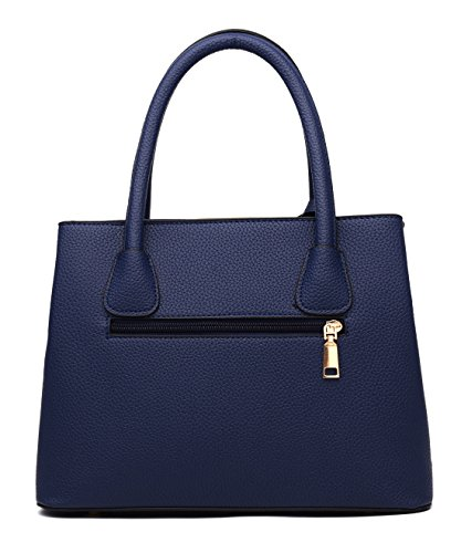 Women's Purse Top Size Middle Cross Leather Durable handle Bag Handbag Covelin Body Tote Blue Navy wTnqFdwH