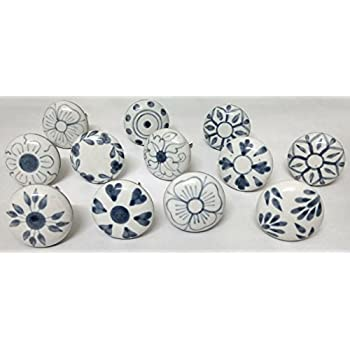 JGARTS 20 Grey & white Cream Ceramic pottery Door knobs Cabinet ...