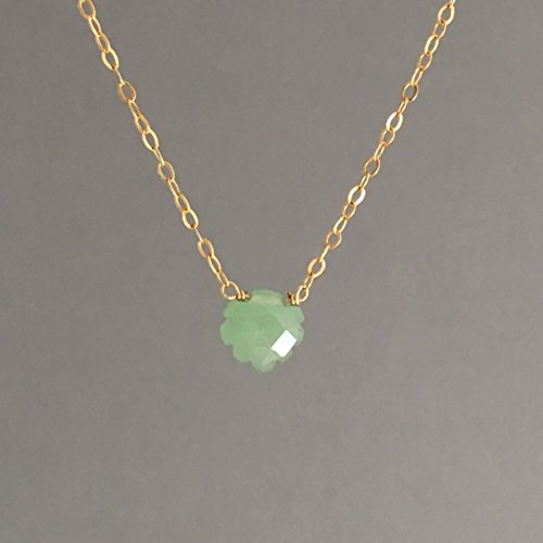 Green Leaf Aventurine Stone Necklace available in gold, rose gold, or silver
