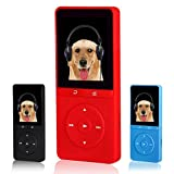FecPecu 8GB MP3 Player, Music Player Hi-Fi Sound 80 Hours Playback F200 Audio Player Expandable Up to 64GB (FP20-Red)