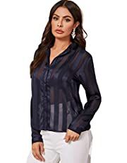 MAKEMECHIC Women's Button Front Long Sleeve Top Casual Sheer Office Blouse