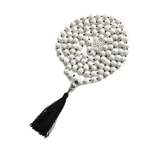 BALIBALI 108 Mala Beads Necklace Semi-Precious Gem Stones Meditation Necklace 108 Hand Knotted Japa Mala Beaded Tassel Necklace with Tree of Life Pendant (Natural White Howlite(Black Tassel)) -