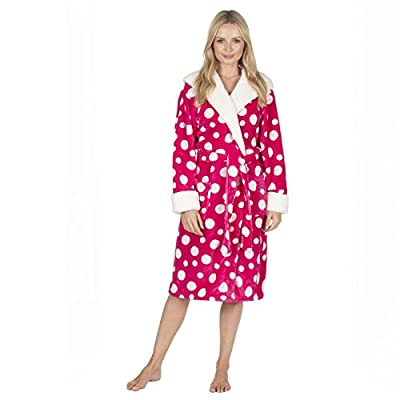 Forever Dreaming Ladies Spot Print Dressing Gown - Flannel Fleece Hooded Night Robe