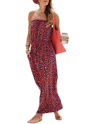 (Acelitt Women Summer Tribal Print Strapless Boho Maxi Dresses Off The Shoulder Dress with Pockets Medium Red)
