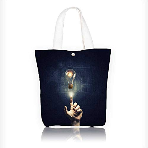 Canvas Shoulder Hand Bag human point with fer on glass glow light bulb Tote Bag for Women Large Work tote Bag Shoulder Travel Totes Beach Bag W11xH11xD3 INCH