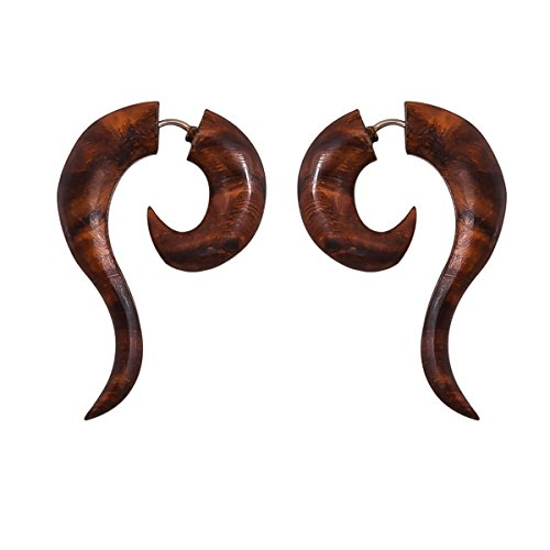 Crafted studio Womens Tibetan Antique Wooden Carved African Tribal Big Fake Gauge Earrings 1.7