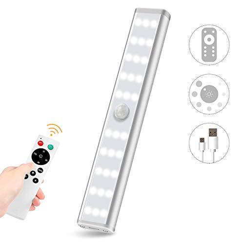 Anbock Wireless Under Cabinet Lights Closet Lights Remote USB Rechargeable Under Counter Lighting Fixtures Night Lights Kitchen Cabinet Light Wardrobe Light 30 LEDs