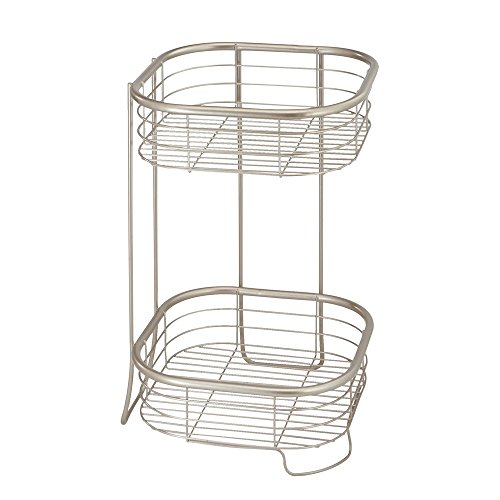 - InterDesign Forma Free Standing Bathroom or Shower Storage Shelves for Towels, Soap, Shampoo, Lotion, Accessories - 2 Tier, Satin