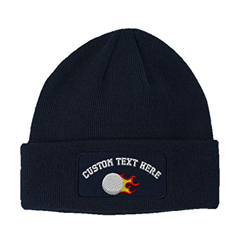 Custom Text Embroidered Fast Golf Ball Flames Unisex Adult Acrylic Double Layer Patch Beanie Skully Hat - Navy, One Size