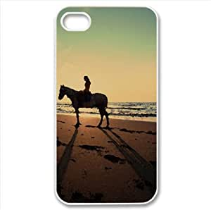 A Horse Ride On The Beach Watercolor style Cover iPhone 4 and 4S Case (Beach Watercolor style Cover iPhone 4 and 4S Case)