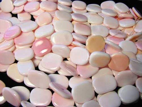 (4 Pink Conch Shell 17x15x3mm Rounded Rectangle Beads for Jewelry Making 9833)
