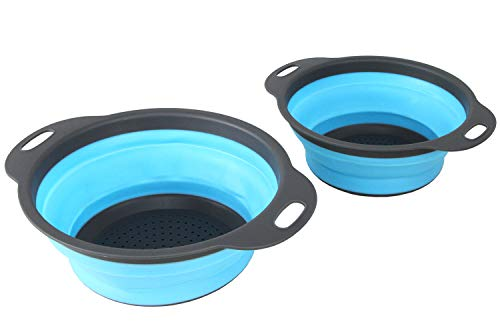 Collapsible Kitchen Silicone Colander - Colander with Handles, Kitchen Folding Strainers, 2 Quart & 3 Quart Capacity – Pasta, fruits, Vegetables, Small-wares Strainers (2-PC Round Colander Set) - Collapsible Quart 3