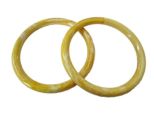 Pair of 5 inch Round Plastic Craft Handbag Purse Handles (Yellow Marble) ()