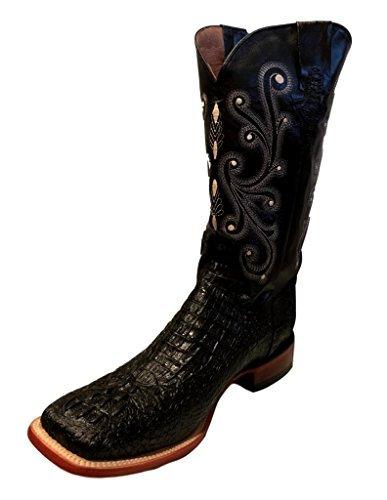 Ferrini Men's Caiman Croc Print Cowboy Boot Wide Square Toe Black 12 EE US