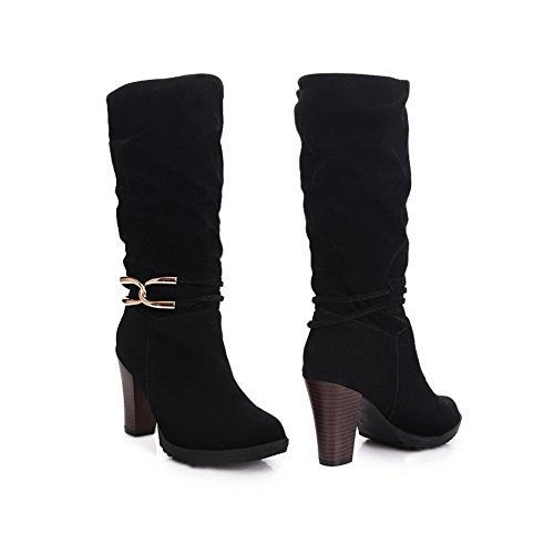 High Toe Closed Solid Heels Platform with Metalornament Round Lucksender Rubber Womens Chunky Boots PU Black BngqXREIx