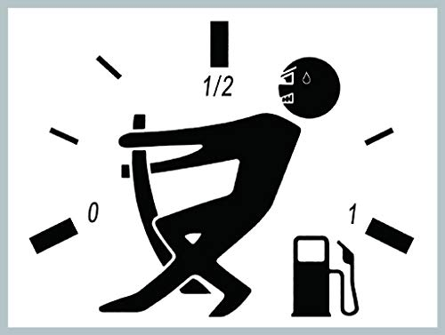 Car Sticker, High Gas Consumption Decal, Fuel Gauge Empty, Funny Fuel Tank Cap Decal-Black