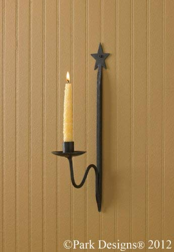 BCD Single Star Candle Sconce ' Forged Iron' 15 1/2'',Black