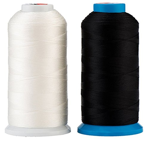 Selric [3000 Yards/Coated/No Unravel Guarantee] Heavy Duty Bonded Nylon Threads #69 T70 Size 210D/3 for Upholstery, Leather, Vinyl, and Other Heavy Fabric (Black and White)