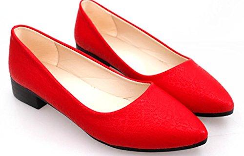 Donne YCMDM'S tacco basso scarpe casual e comode scarpe di colore puro svago singoli , red , 37