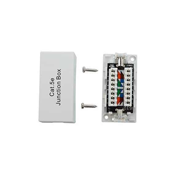 InstallerParts Cat.5E Junction Box - 110 Punch Down Type - Secure Shielded Outdoor Junction Box - UL Listed 6 HIGH QUALITY DESIGN: Secure outdoor junction box provides durable housing for a cat5e ethernet cable MEETS INDUSTRY STANDARDS: UL/cUL listed; provides most direct connection between two cat5e cables. WIRE GUAGE: The 110 block is designed to use 22 through 26 gauge solid wire.