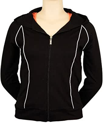 Black Athletic Hoody Sweatshirt with White Accent Color (Small)