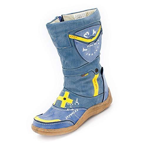 Winter Faux Blue Leather Womens TMA SEELENlook Boots Leather Denim wU8XUtnBE