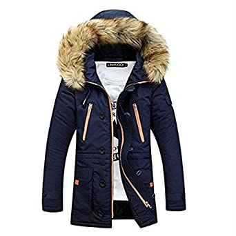 TOP Fighting Men Parka New Casual Fashion Mens Winter Jackets Stand Collar Hooded Coat Chaqueta De