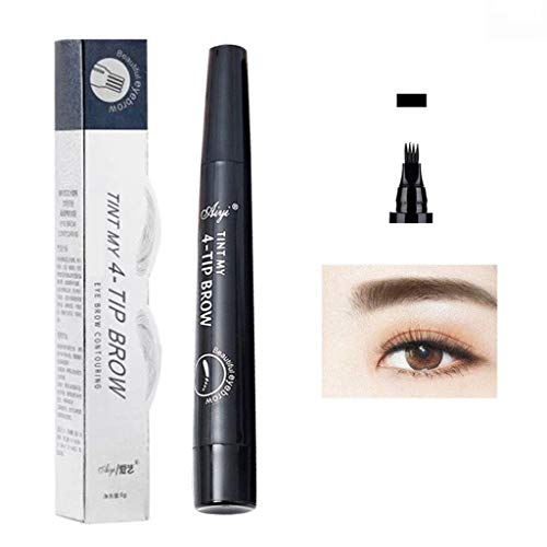 WONdere Eyebrow Tattoo Pen Micro blading Eyebrow Pencil Tattoo Brow Ink Pen with a Micro-Fork Tip Applicator Creates Natural Looking Brows Effortlessly and Stays on All Day (Black) -