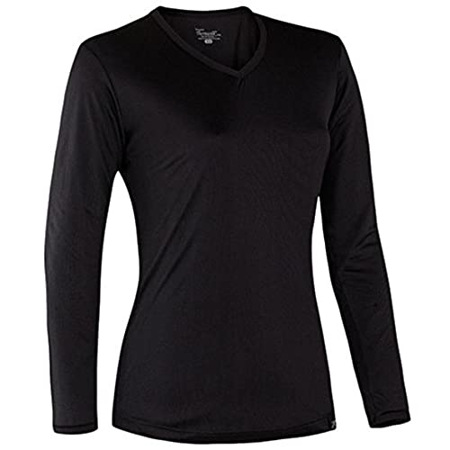 Terramar Sports Womens Thermasilk Jersey V-Neck S Black