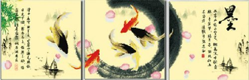 Koi Fish and Chinese Calligraphy, Blue Moon Needlecrafts, 3D Cross Stitch Kit Precision No-Count