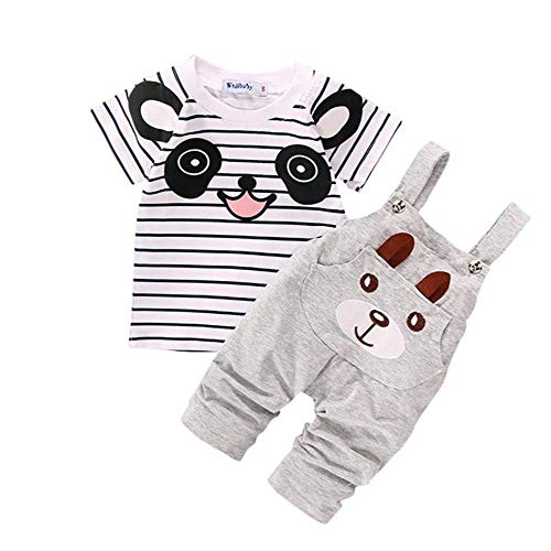 WOCACHI Toddler Baby Boys Clothes, Toddler Straps Set Baby Boy Little Bear Stripe Short-Sleeve Set Gary/6 2pcs 3pcs Footies Outfit Onesies 0-24 Months 2-8 Years Playsuits Tutu Princess -