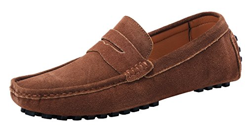 LOUECHY Men's Suede Penny Loafers Moccasins Shoes Casual Slip On Loafers 8977-46 (Mens Brown Casual Loafers)