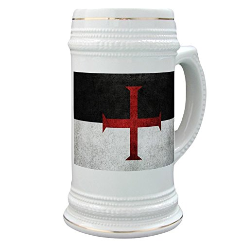 CafePress - Flag Of The Knights Templar - Beer Stein, 22 oz. Ceramic Beer Mug with Gold Trim