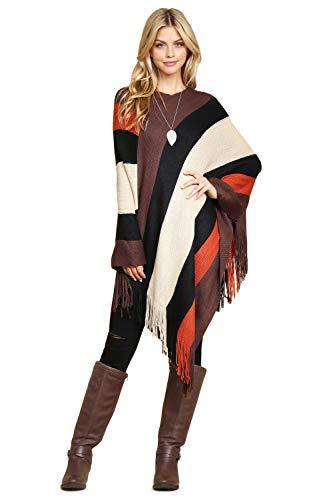 Classic Soft Knit Poncho Shawl Wrap - Winter Warm Fringe Tassel Colorblock Sweater Cape, V-Neck Stripe Pullover (V-Neck Classic Colorblock - Brown)