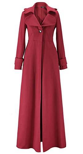 Étage Revers Trench Femmes En Manteau Rouge Cashmere Blansdi One 2016 Button Laine Mopping Long EqXXBC
