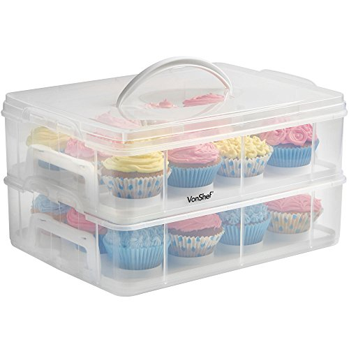 VonShef Snap and Stack Cupcake Storage Carrier 2 Tier - Store up to 24 Cupcakes or 2 Large Cakes (Cupcake Tray)