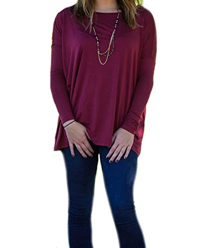 PIKO 1988 Women's Famous Long Sleeve Loose Fit Bamboo Top Plum S
