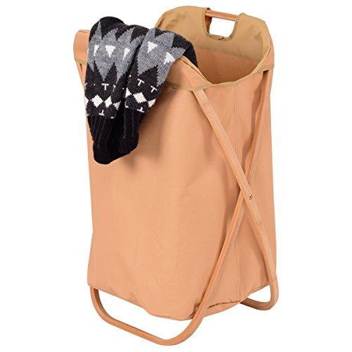 Giantex Folding Bamboo Laundry Hamper X-Frame Bin Clothes Storage Basket Organizer with Waterproof Washing Bag, Natural by Giantex