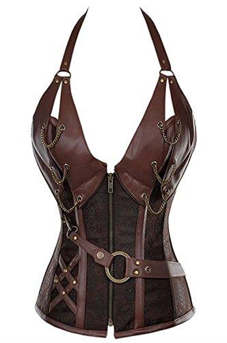 [Women's Steampunk Retro Steel Boned Corset Waist Cincher Bustier Shapewear Top 5X-Large Brown] (Steampunk Corset Dress)