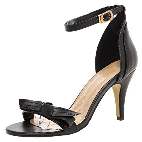 TAOFFEN Femmes Mode Aiguille Sandalias Talons Hauts Bout Ouvert Sangle De Cheville Zapatos De Bowknot Negro