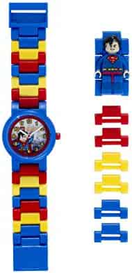 LEGO Watches and Clocks Boy's ' DC Universe Super Heroes Superman Minifigure Quartz Plastic Casual Watch, Color:Blue (Model: 8020257