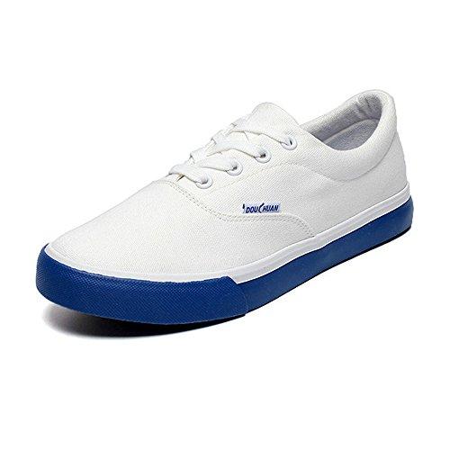 Sneakers Flache Canvas Weiche Cricket Farbe Freizeitschuhe Schnürsenkel Blau Schuhe Sport Reine Sohle Müßiggänger Herren Gummi axPnHwZqgW