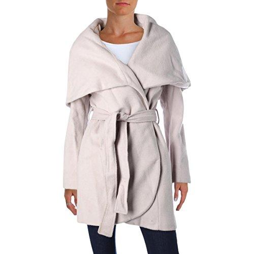 T Tahari Womens Marla Wool Shawl Collar Coat Beige XXS