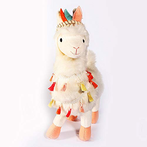 """Mon AMI Designer Plush Tribal Llama, White, 14"""", Curly Hair, Feather Crown, Huggable Fabric, Adorable Kids Décor, Kids Cute Stuffed Toy with Tribal Theme"""