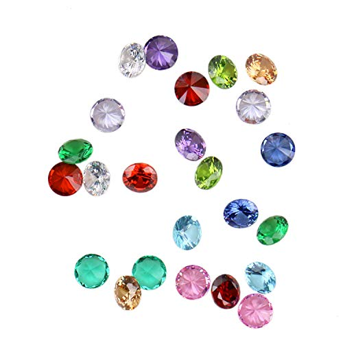 JETEHO 2 Sets/24Pcs 12 Month Crystal Glass Zircon Round 5MM Birthstones Floating Charms for Living Memory Locket Necklace Pendant -
