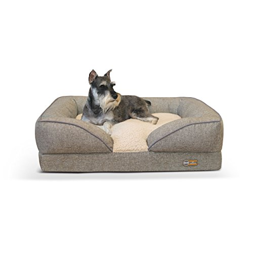 "K&H Pet Products Pillow-Top Orthopedic Lounger Pet Bed Small Classy Tan 18"" x 24"""