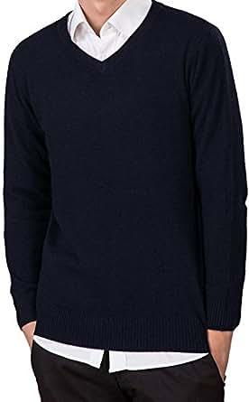 LONGMING Men's Casual Winter Cashmere Wool V-Neck Long