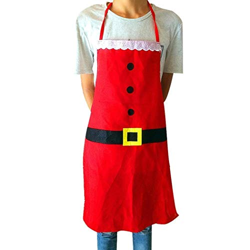 Marsrut TM 1 Piece Kitchen Restaurant Cooking Button Waistband Printed Christmas Made of Cloth Material for Easy wash. Apron